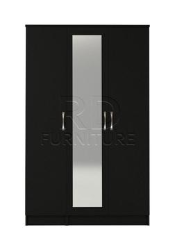 Beatrice 3 door mirrored wardrobe black finish