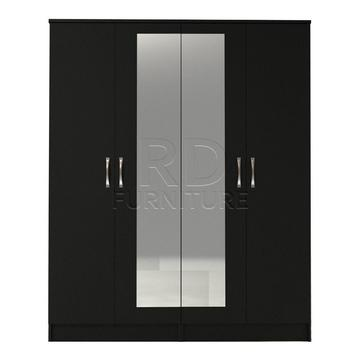 Beatrice 4 door mirrored wardrobe black finish
