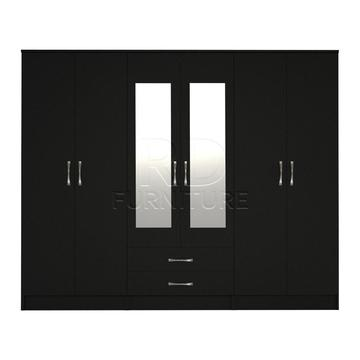Beatrice wardrobe 4 you, 2,28m wide 6 door black wardrobe