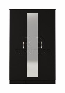 classy 3 door mirrored wardrobe full black