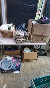 ***FREE*** 6 boxes 2 bags and a antique drinks cabinet