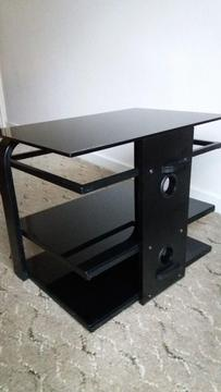 Television stand with glass shelves