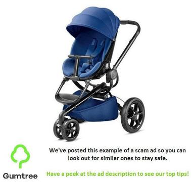 QUINNY MODD BLUE RELIANCE WITH CARRYCOT & CAR SEAT -- Read the ad desc before replying!!!