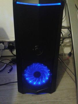 brand new in box Gaming PC case with additional blue LED fan + free 450w power supply