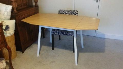IKEA bamboo and metal drop-leaf table