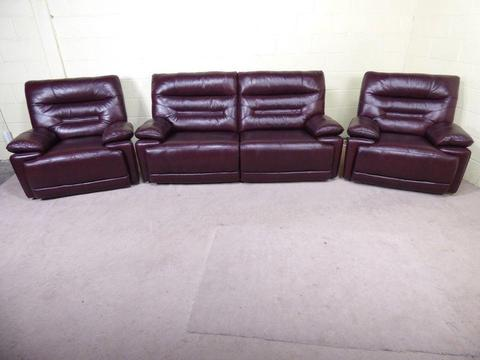 'WILLIAMS' 3 SEATER SOFA & 2 ARMCHAIRS MANUAL RECLINERS IN BLACK CHERRY LEATHER SETTEE/SUITE