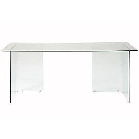 JOHN LEWIS STATEN 140 CLEAR GLASS DESK WITH GLASS TRESTLES - £80