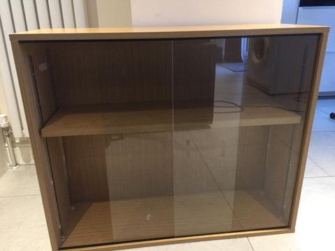 Filing Cabinet with removable Sliding glass doors