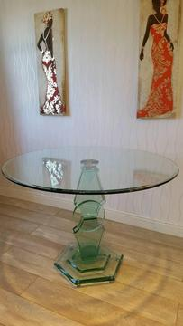 Art Deco style circular glass table with 4 swivel chairs
