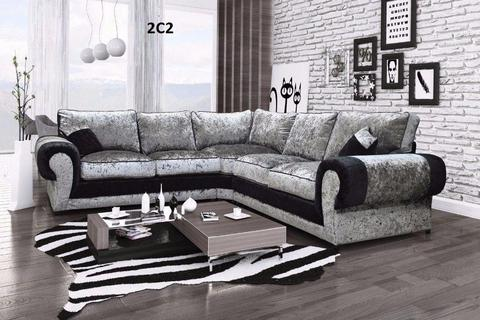 Special Offer Brand New Crushed Velvet Corner Sofa Express Delivery