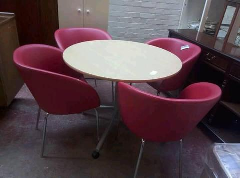Round Meeting table and X4 red chairs