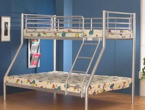 *TOP SELLER* GET 70% DISCOUNT* NEW Trio Metal Bunk Bed + 2 x 9inch Deep Quilt Mattresses -Same Day