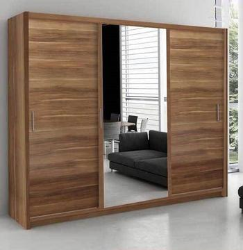 NEW MODERN SLIDING WARDROBE TWO OR THREE DOOR WARDROBE WITH FULL MIRROR SHELVES AND HANGING RAILS