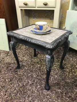 Refurbished vintage occasional / wine / side table shabby chic black colour