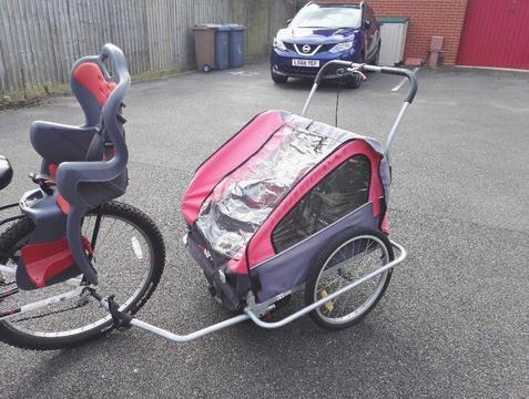 Child Bike Trailer,2-Seater-Black/Red