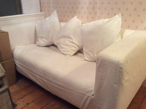 2 seater white sofa. Washable covers