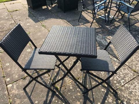 Rattan Black Foldaway Bistro Garden Furniture Set - New